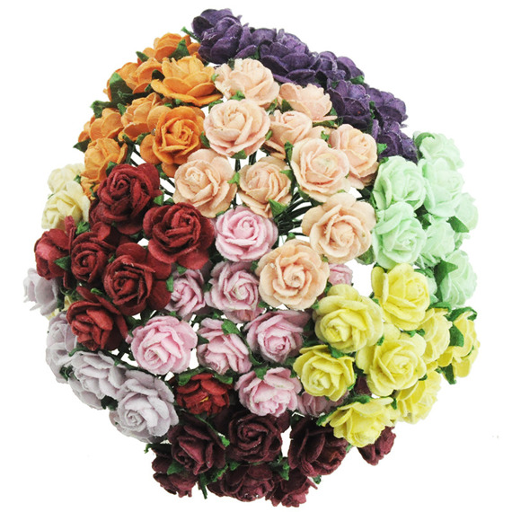 100 Mixed Mulberry Paper Open Roses 10mm 112737 Wild