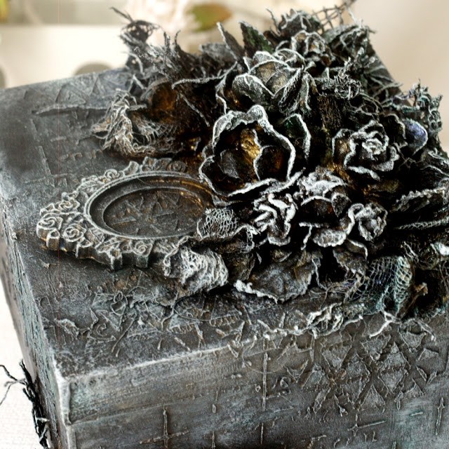 Handmade black box with 3D decoration