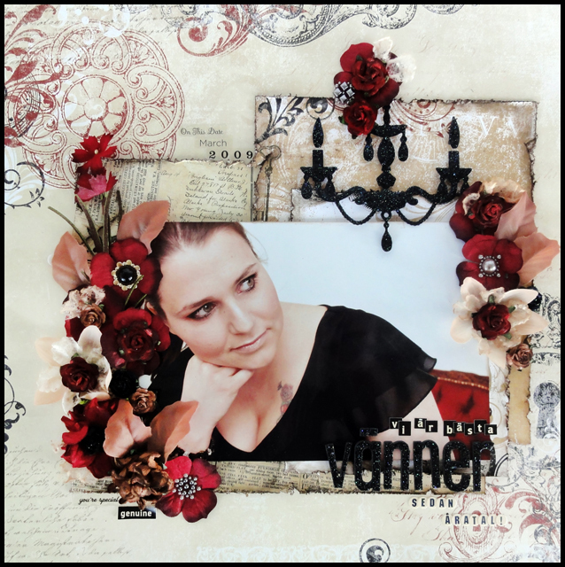 Layout for a friend, red, black and beige