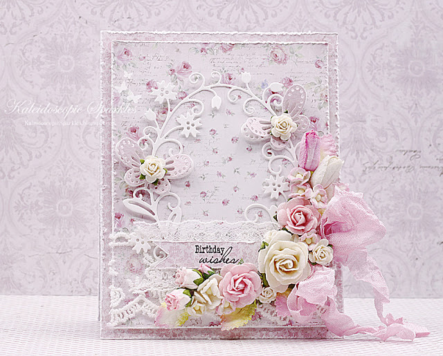 Mist Pinky Birthday Card with lace