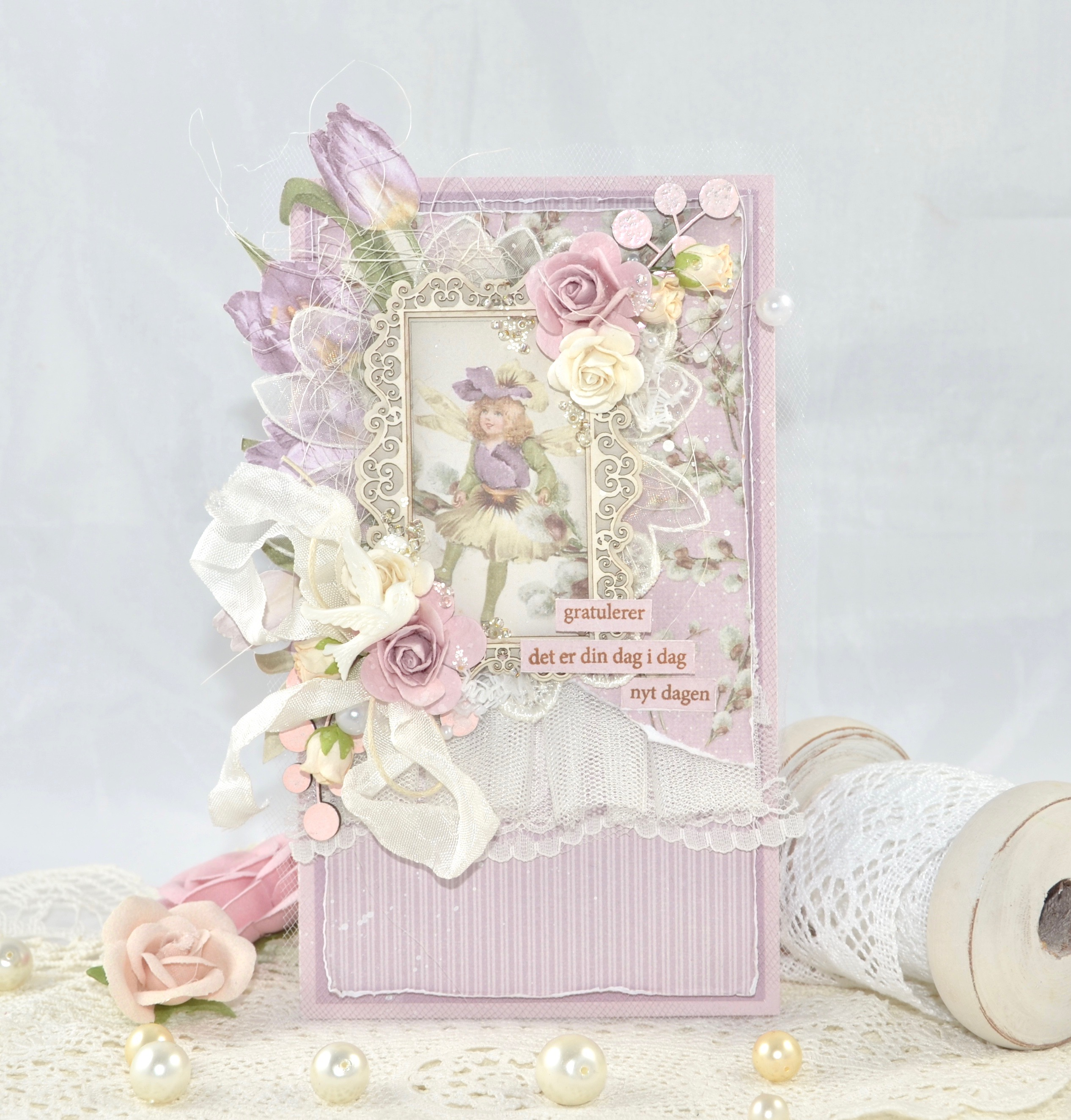 LILAC CARD WITH EMBELLISHMENTS