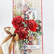 60th BIRTHDAY CARD with red mulberry roses by Agnieszka Cebula