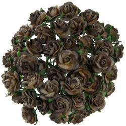 2-TONE CHOCOLATE BROWN MULBERRY PAPER OPEN ROSES
