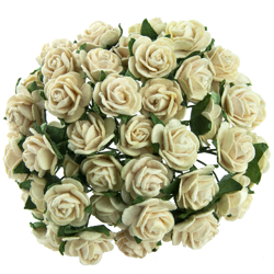 DEEP IVORY MULBERRY PAPER OPEN ROSES