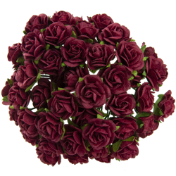DEEP RED MULBERRY PAPER OPEN ROSES