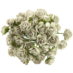 DOVE GREY MULBERRY PAPER OPEN ROSES