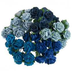 MIXED BLUE MULBERRY PAPER OPEN ROSES