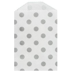 "Paper Bags 10pcs 2.75 x 4"" (7x10cm) - Grey Polka Dots - Whisker Graphic"
