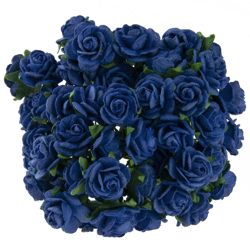 ROYAL BLUE MULBERRY PAPER OPEN ROSES