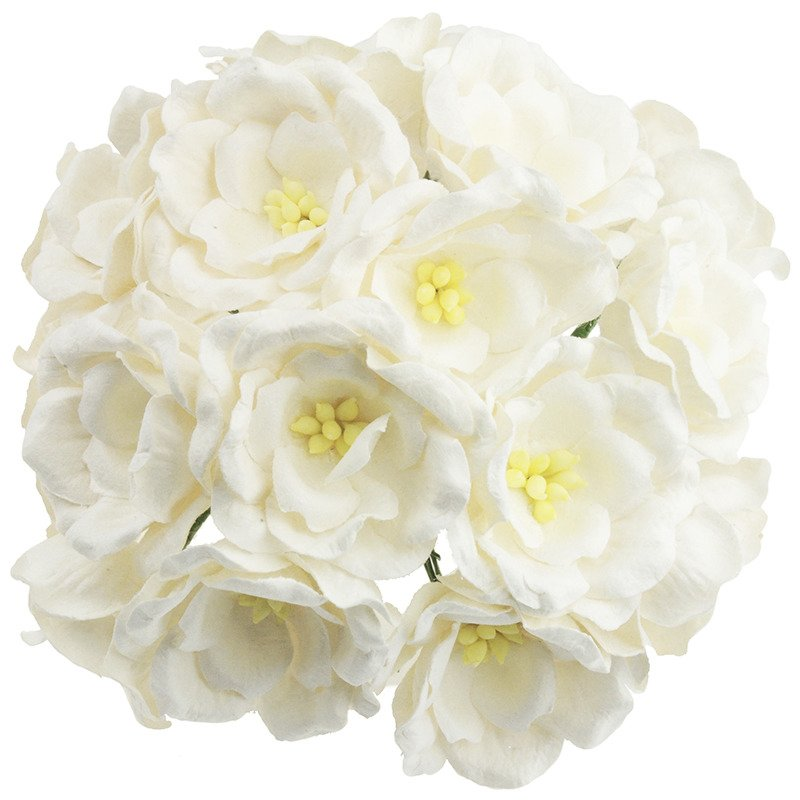 50 White Mulberry Paper Magnolias 112812 Wild Orchid Crafts