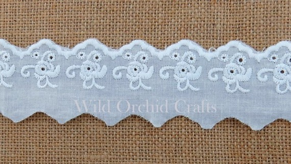 1.1 Yards (1 METRE) LENGTH WHITE COTTON LACE