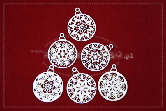 Chipboard Christmas set of openwork baubles (6 pcs)- Kaleidoscope