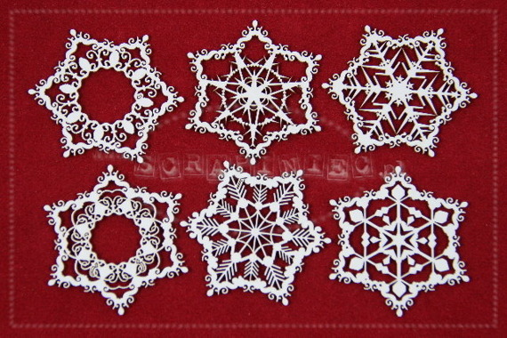 Chipboard Christmas set of snowflakes shaped ornaments