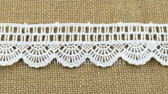 "1.1 Yards (1 METRE) LENGTH WHITE GUIPURE LACE 38mm (1½"")"