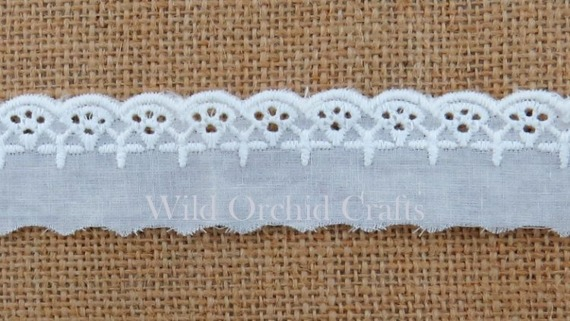 1 METRE (1.1 Yards) LENGTH WHITE COTTON LACE