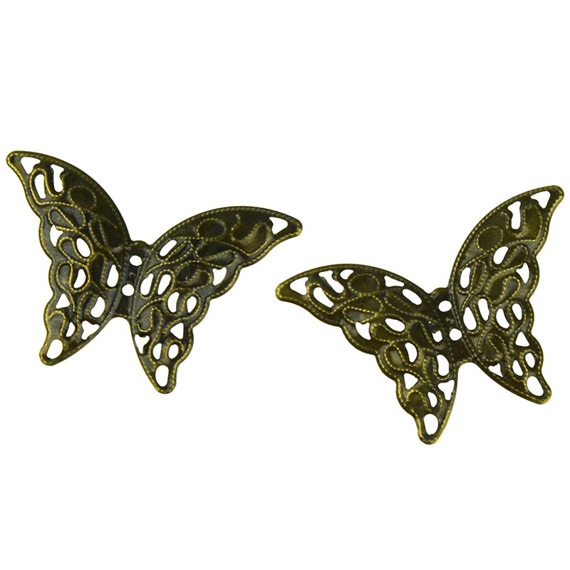 10 ANTIQUE BRONZE BUTTERFLY EMBELLISHMET
