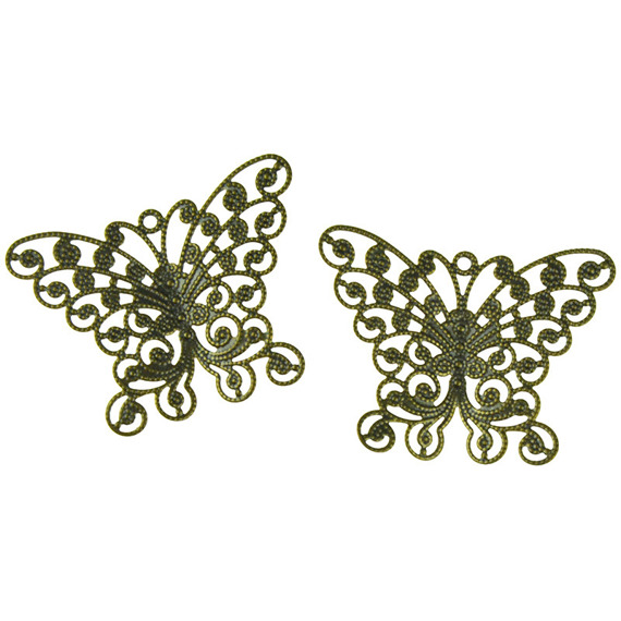 10 ANTIQUE GOLD BUTTERFLY EMBELLISHMET