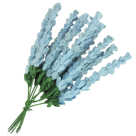 10 BABY BLUE MULBERRY PAPER HEATHER FLOWERS