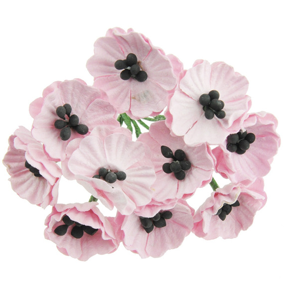 10 BABY PINK MULBERRY PAPER POPPY FLOWERS