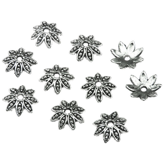 10 FLOWER SHAPE METAL BEAD CAPS