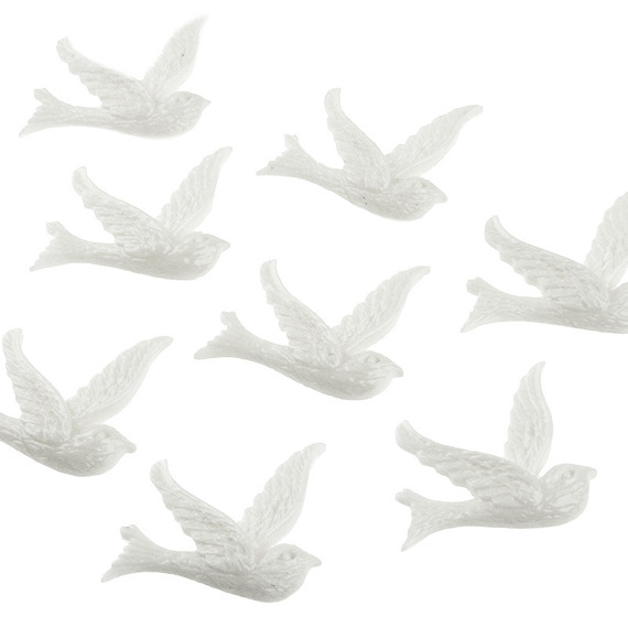 10 LARGE WHITE DOVE EMBELLISHMENTS