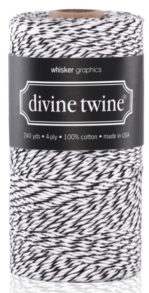 10 METRES BLACK-WHITE DIVINE BAKERS TWINE (10.93 yards)