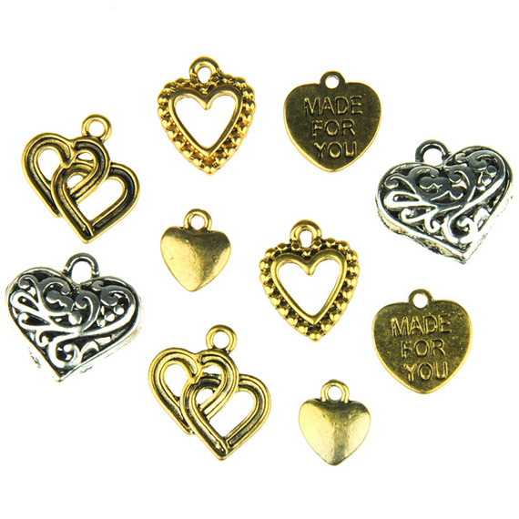 10 MIXED METAL HEART EMBELLISHMENTS