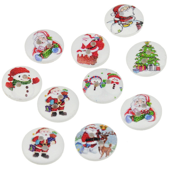 10 MIXED PATTERN CHRISTMAS BUTTONS