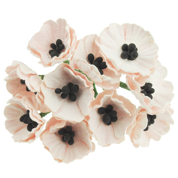 10 PALE PINK MULBERRY PAPER POPPY FLOWERS