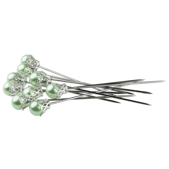 10 PASTEL GREEN CROWN PINS