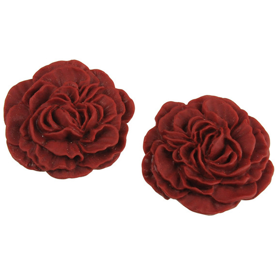 "10 RED MATT EFFECT ROSE CABOCHONS - 30mm (1¼"")"