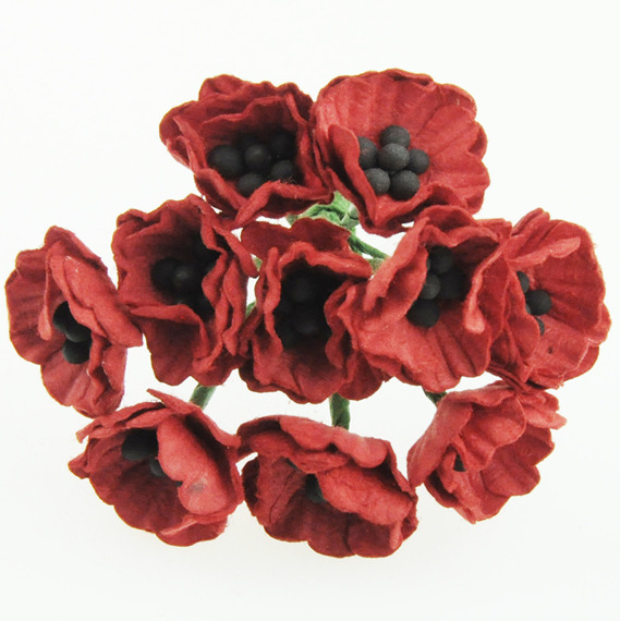 10 RED MULBERRY PAPER POPPY FLOWERS