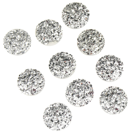 "10 SILVER CRYSTAL FLAT CABACHONS 12mm (0.5"")"