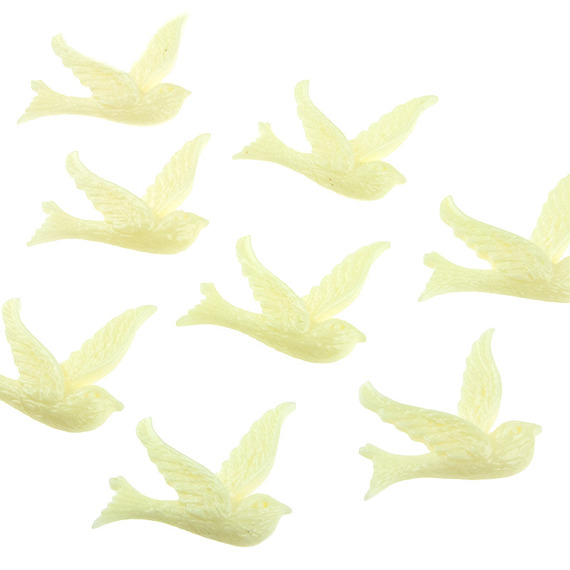 10 SMALL IVORY DOVE EMBELLISHMENTS