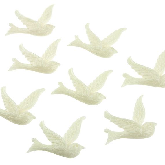 10 SMALL WHITE DOVE EMBELLISHMENTS