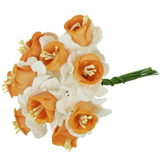 10 WHITE ORANGE MULBERRY PAPER DAFFODIL STEM FLOWERS