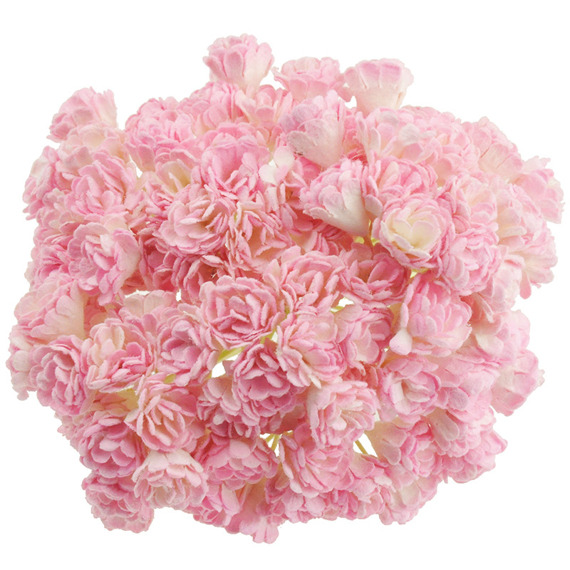 100 2-TONE BABY PINK/IVORY MULBERRY PAPER GYPSOPHILA FLOWERS