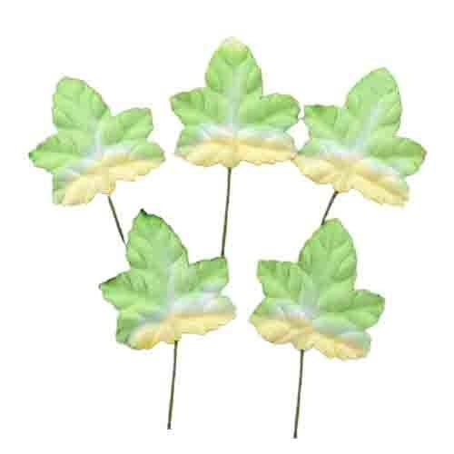 100 2-TONE GREEN/WHITE MAPLE MULBERRY PAPER LEAVES - 45mm