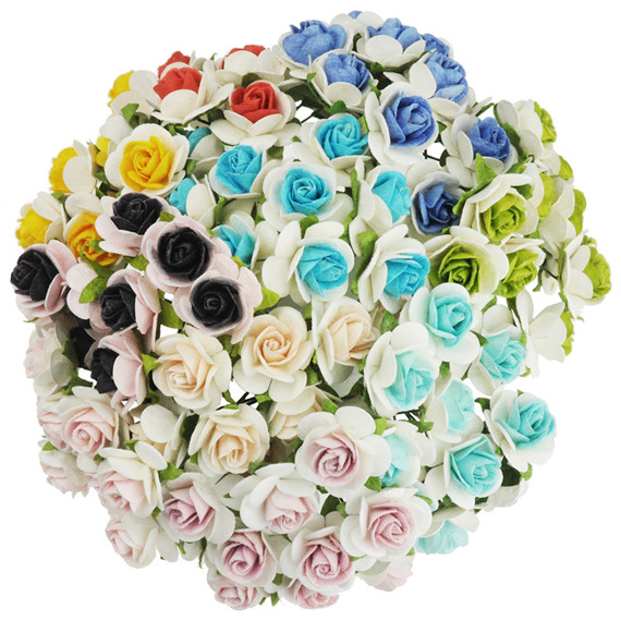 100 2-TONE MIXED COLOUR MULBERRY PAPER OPEN ROSES 10MM