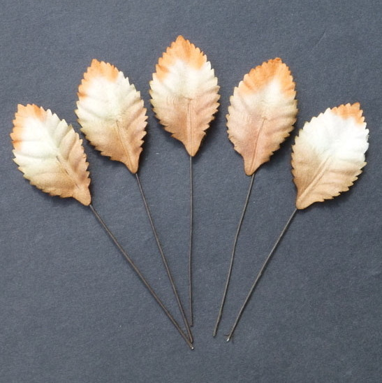 "100 2-TONE WHITE/ORANGE/BROWN MULBERRY PAPER LEAVES - 25mm (1"")"