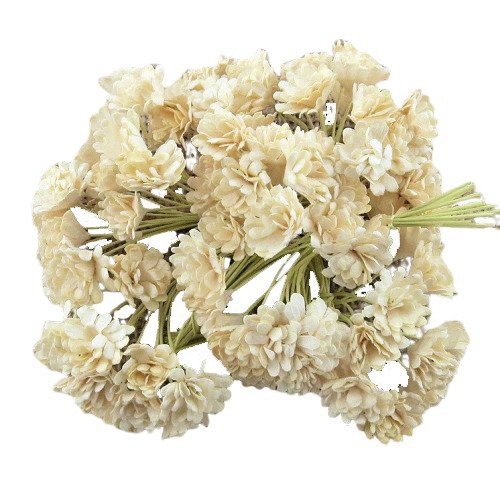 100 DEEP IVORY MULBERRY PAPER GYPSOPHILA FLOWERS
