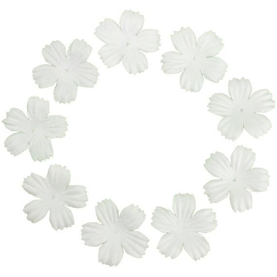 "100 FOUNDATION WHITE BLOOMS (2.7cm / 1,06"")"