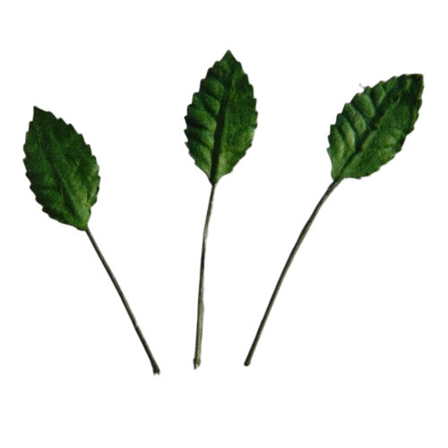 100 GREEN MULBERRY PAPER ROSE LEAVES - 15mm