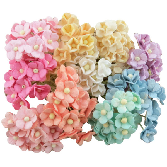 100 MINIATURE MIXED PASTEL SWEETHEART BLOSSOM FLOWERS