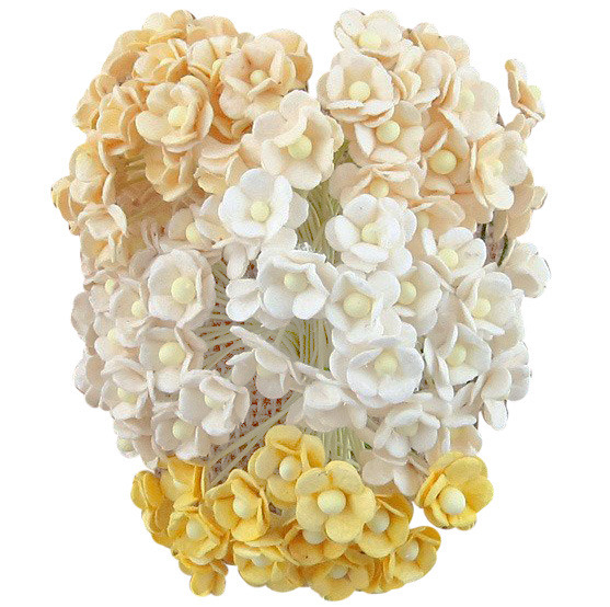 100 MINIATURE MIXED WHITE-CREAM SWEETHEART BLOSSOM FLOWERS