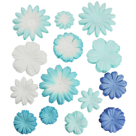 100 MIXED BLUE/WHITE  TONE BLOOM SET