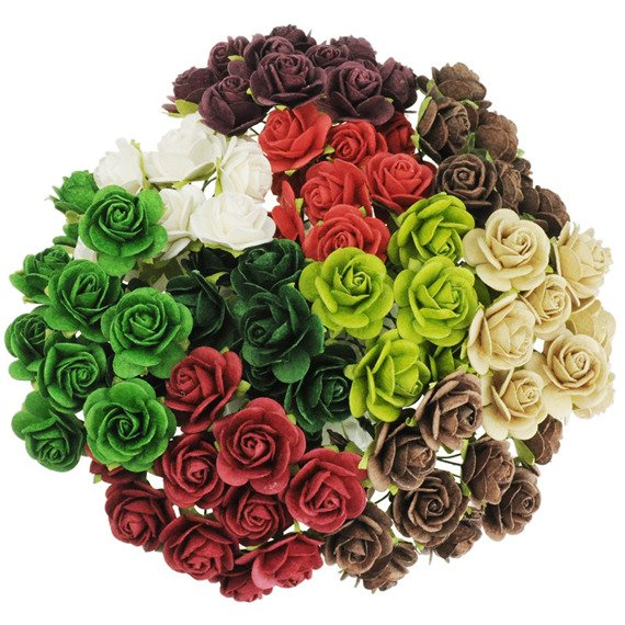 100 MIXED CHRISTMAS COLOUR OPEN ROSES 15MM