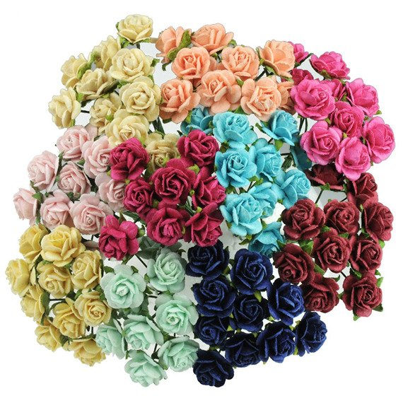 100 MIXED COLOUR OPEN ROSES 20MM