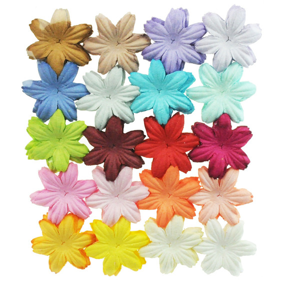 "100 MIXED COLOUR SUMMER BLOOMS (20 colours - 2,5cm / 1"")"