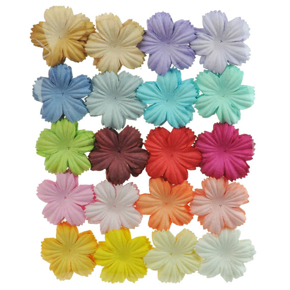 "100 MIXED COLOUR SUMMER BLOOMS (20 colours - 2,7cm / 1,06"")"